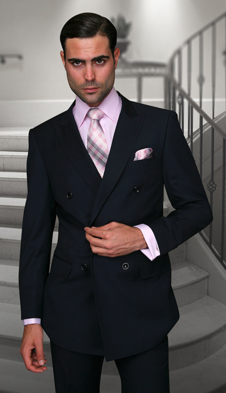 TZD-100-NA ( 2pc Double Breasted Mens Statement Suit, Pleated Pants, Super 150's )