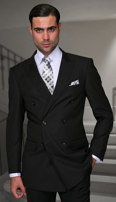 TZD-100-BK ( 2pc Double Breasted Mens Statement Suit, Pleated Pants, Super 150's )