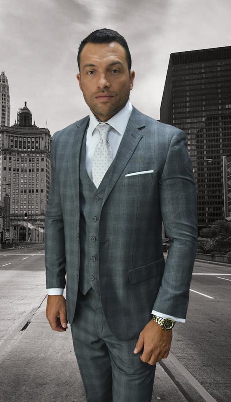 MANTUA-GR ( 3pc Plaid Mens Statement Suit With Flat Front Pants, Super 150's )