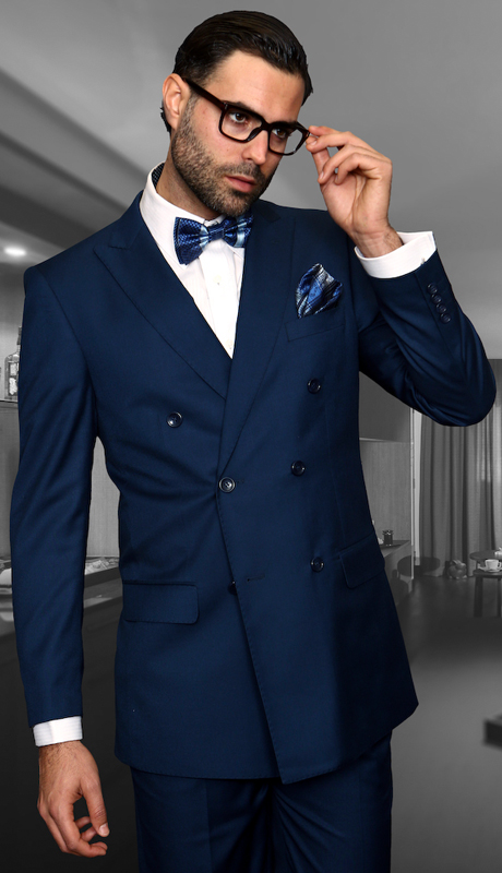 TZD-100-SA ( 2pc Double Breasted Mens Statement Suit, Pleated Pants, Super 150's )