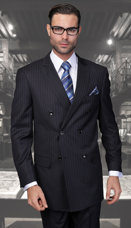 TZD-300-NA ( 2pc Double Breasted Mens Statement Suit, Pleated Pants, Super 150's )