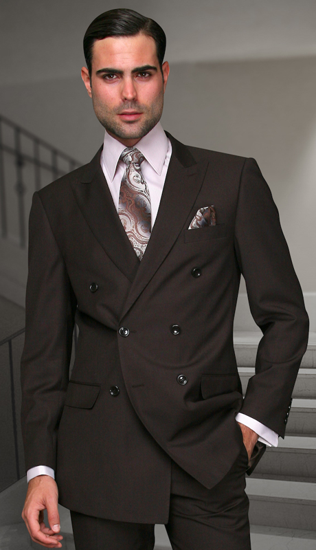 TZD-100-BR ( 2pc Double Breasted Mens Statement Suit, Pleated Pants, Super 150's )