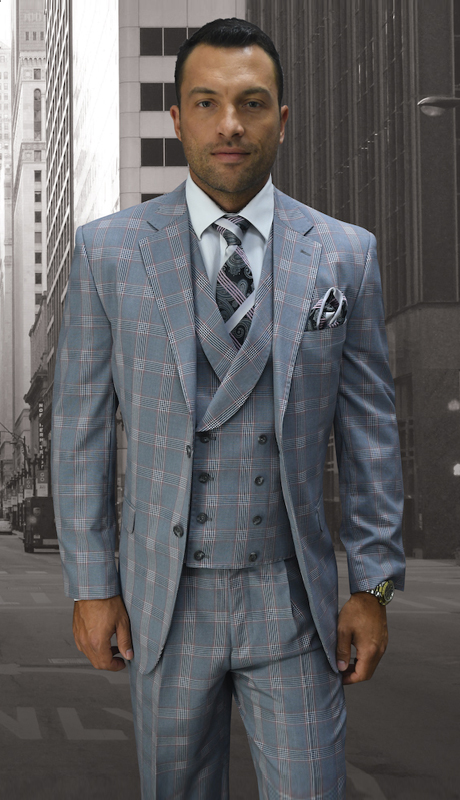 POMPEII-GR ( 3 pc Mens Statements Suit, Double Breasted Vest, Pleated Pants, Super 150's )