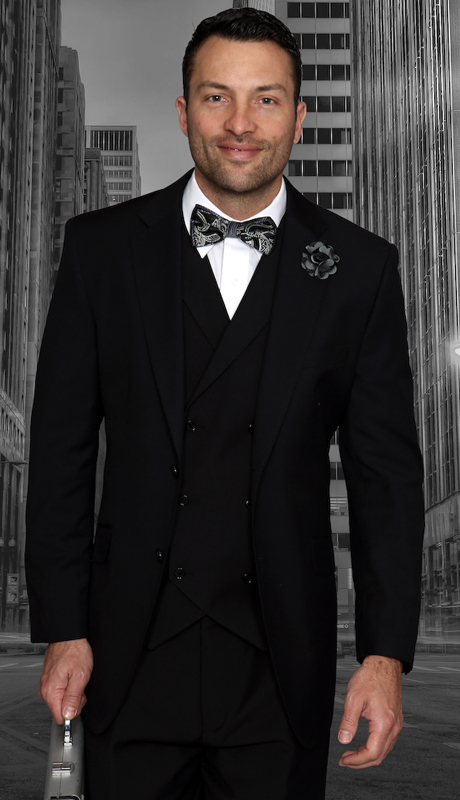 Messina BLK-CO ( 3pc Mens Statement Suit, Pleated Pants, Super 150's )