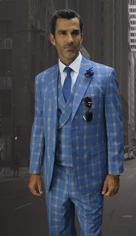 POMPEII-BL ( 3pc Mens Statement Suit, Double Breasted Vest, Pleated Pants, Super 150's )