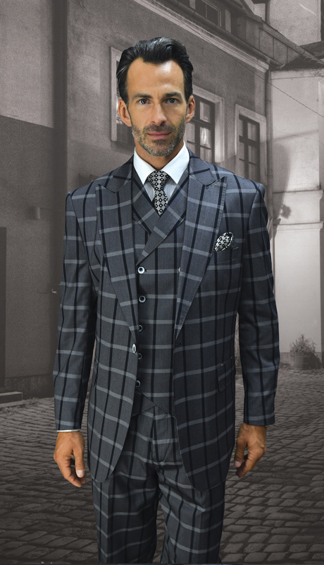 PISSA-GR ( 3pc Mens Statement Suit, Double Breasted Vest, Wide Leg Pleated Pants, Super 150's )
