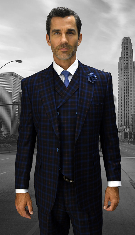 NAPLES-BL ( 3pc Mens Statement Suit, Double Breasted Vest, Wide Leg Pleated Pants, Super 150's )