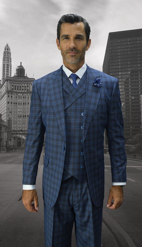 MILAN-IN ( 3pc Mens Statement Suit, Double Breasted Vest, Wide Leg Pleated Pants, Super 150's )