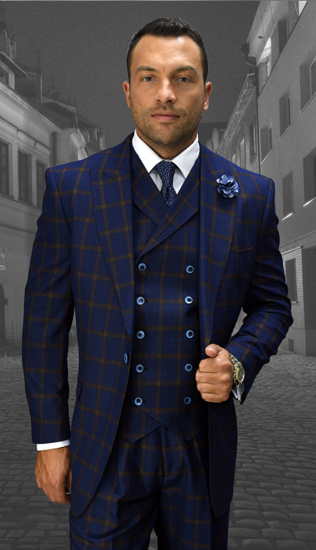 VERONA-NA ( 3pc Mens Statement Suit, Double Breasted Vest, Wide Leg Pleated Pants, Super 150's )