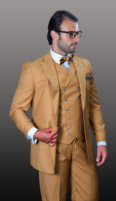 FLORENCE-CA ( 3pc Mens Statement Suit, Double Breasted Vest, Wide Leg Pleated Pants, Super 150's )