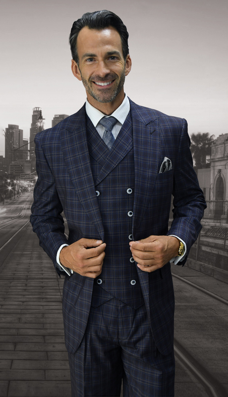 MILAN-EG ( 3pc  Mens Statement Suit, Double Breasted Vest, Wide Leg Pleated Pants )