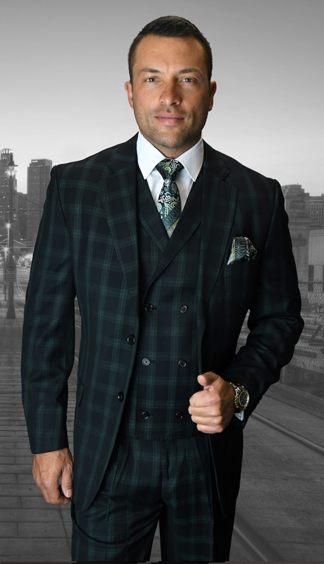 ABANO-1-CH ( 3pc Mens Statement Suit, Double Breasted Vest, Flat Front Pants, Super 150's )