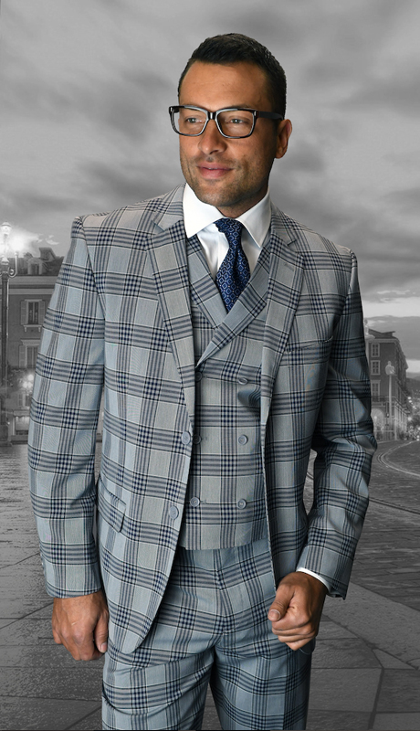 ABANO-4-SA ( 3pc Mens Statement Suit, Double Breasted Vest, Pleated Pants, Super 150's )