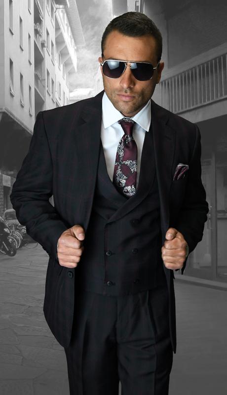 SPEZIA-BK ( 3pc Mens Statement Suit, Double Breasted Vest, Peated Pants, Super 150's )