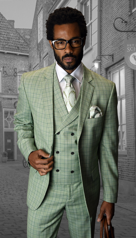 ABANO-3-SA ( 3pc Mens Statement Suit, Double Breasted Vest, Flat Front Pants, Super 150's )