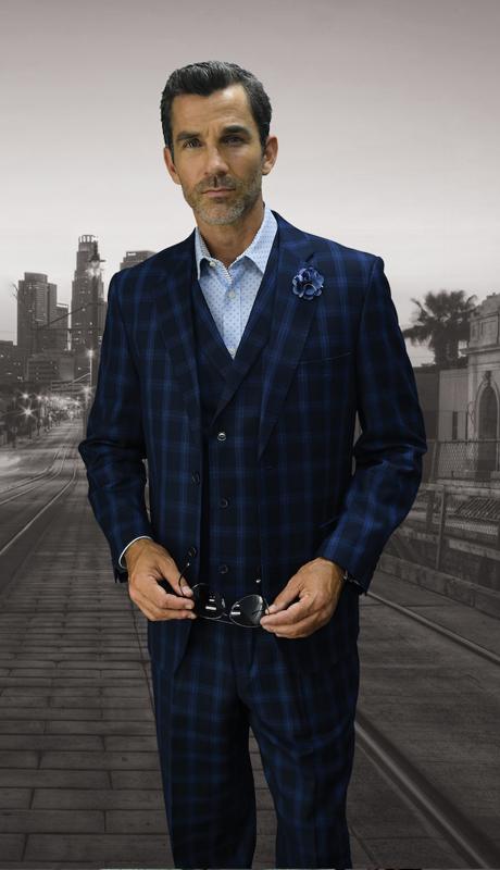 LEECE-NA ( 3pc Mens Statement Suit, Double Brested Vest, Pleated Pants, Super 150's )