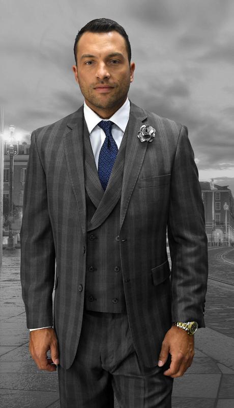 SPEZIA-CH ( 3pc Mens Statement Plaid Charcoal Suit, Double Breasted Vest, Pleated Pants, Super 150's 0