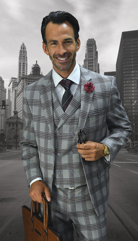 ABANO-4-BU ( 3pc Mens Statement Plaid Burgundy Suit, Double Breasted Vest, Pleated Pants, Super 150's )