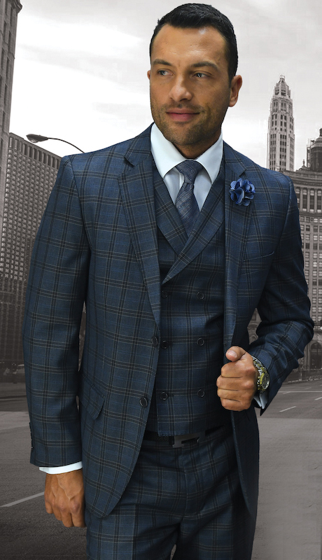 ABANO-1-GR ( 3pc Mens Statement Plaid Grey Suit, Double Breasted Vest, Flat Front Pants, Super 150's )