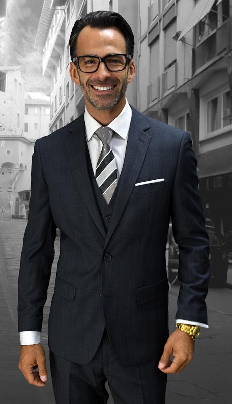 MANTUA-CH ( 3pc Mens Statement Plaid Charcoal Suit, Flat Front Pants, Super 150's )