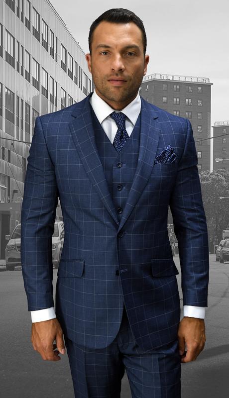 STZV-755-BL ( 3pc Mens Statement Plaid Blue Suit, Flat Front Pants, Super 150's )