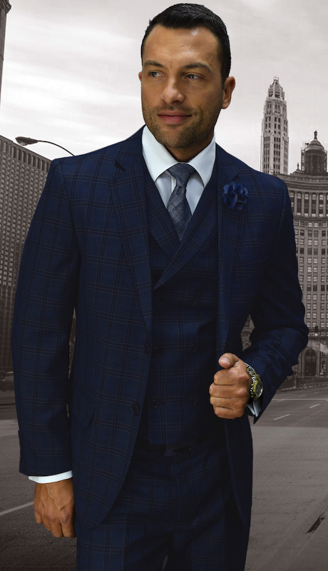 ABANO-1-SA ( 3pc Mens Statement Plaid Sapphire Suit, Double Breasted Vest, Flat Front Pants, Super 150's )