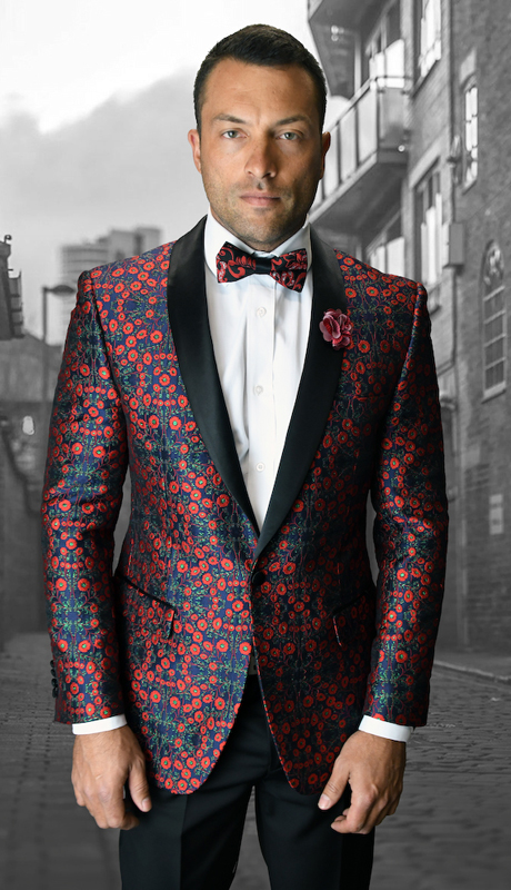 VJ-108-BU ( 1pc Mens Statement Sport Coat With Free Matching Bow Tie, Super 150's )
