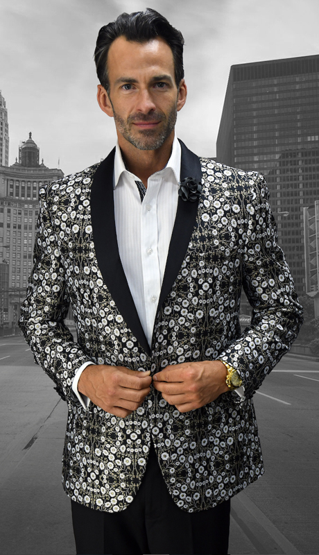 VJ-108-BK ( 1pc Mens Satement Sport Coat With Free Matching Black Bow Tie, Super 150's )