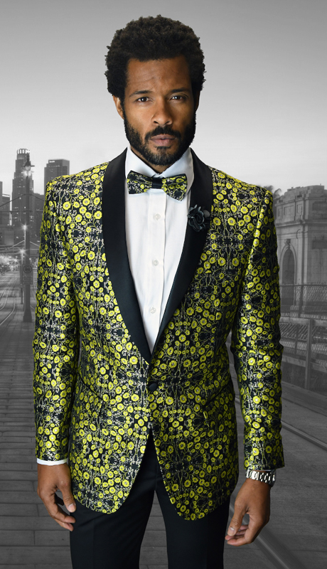 VJ-108-GO ( 1pc Mens Statement Sport Coat With Free Matching Bow Tie, Super 150's )