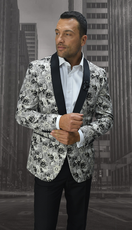 VJ-102-BK ( 1pc Mens Statement Sport Coat With Free Matching Bow Tie, Super 150's )