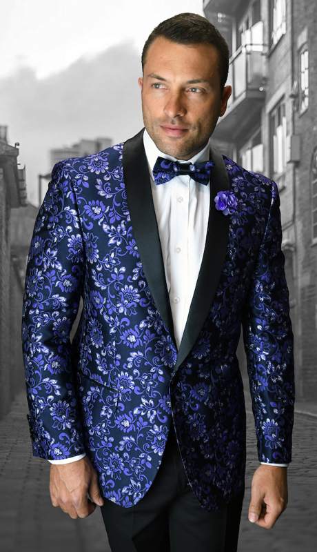 VJ-104-PU ( 1pc Mens Statement Sport Coat With Free Matching Bow Tie, Super 150's )