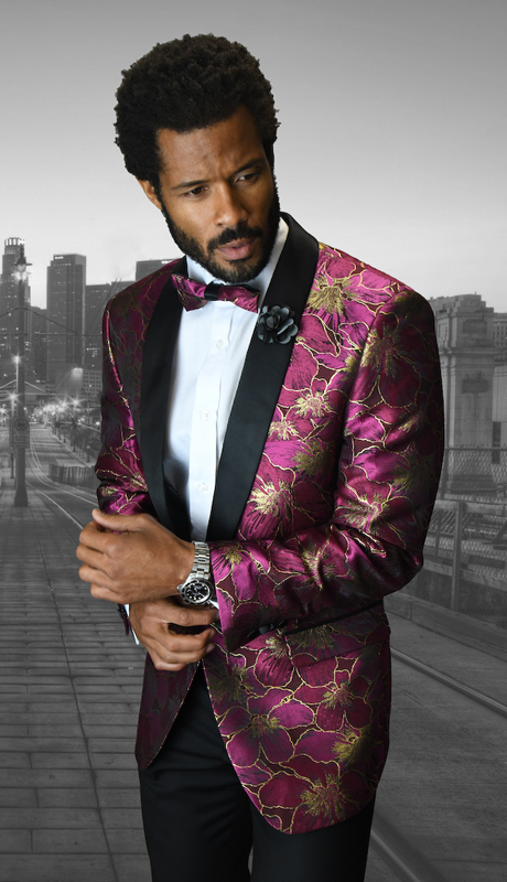 VJ-103-FU ( 1pc Mens Statement Sport Coat With Matching Bow Tie, Super 150's )