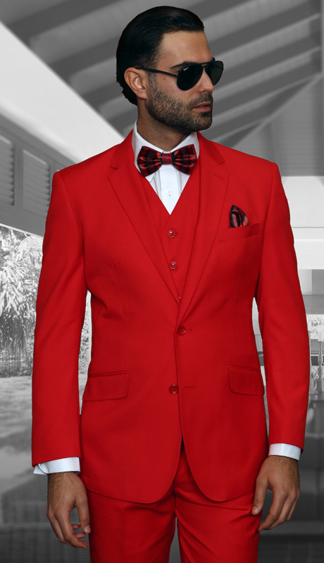 TZ-100 RD ( 3pc Mens Statement Suit, Flat Front Pants, Super 150's )