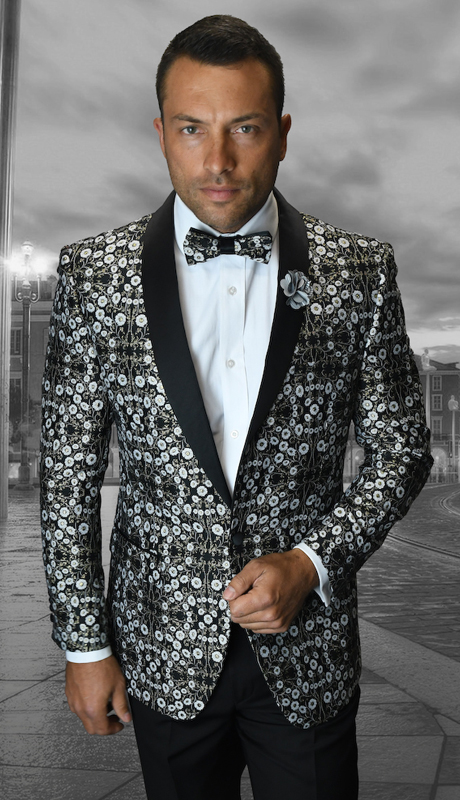 VJ-104-SI ( 1pc Mens Statement Sport Coat With Free Matching Bow Tie, Super 150's )