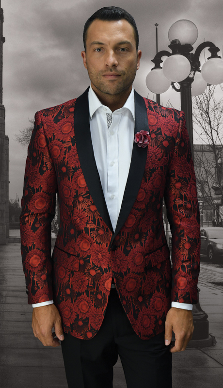 VJ-100-RE ( 1pc Mens Statement Sport Coat With Free Matching Bow Tie, Super 150's )