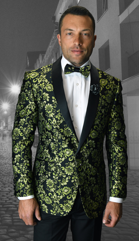VJ-104-GO ( 1pc Mens Statemen Sport Coat With Free Matching Bow Tie, Super 150's )