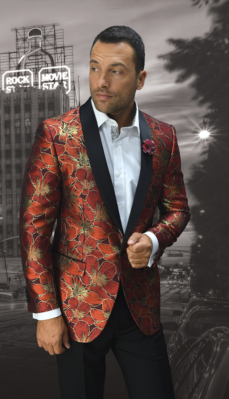 VJ-103-RE ( 1pc Mens Statement Sport Coat With Matching Bow Tie, Super 150's )