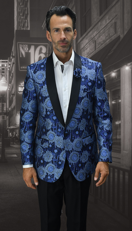 VJ-100-BL ( 1pc Mens Statement Sport Coat With Free Matching Bow Tie, Super 150's )