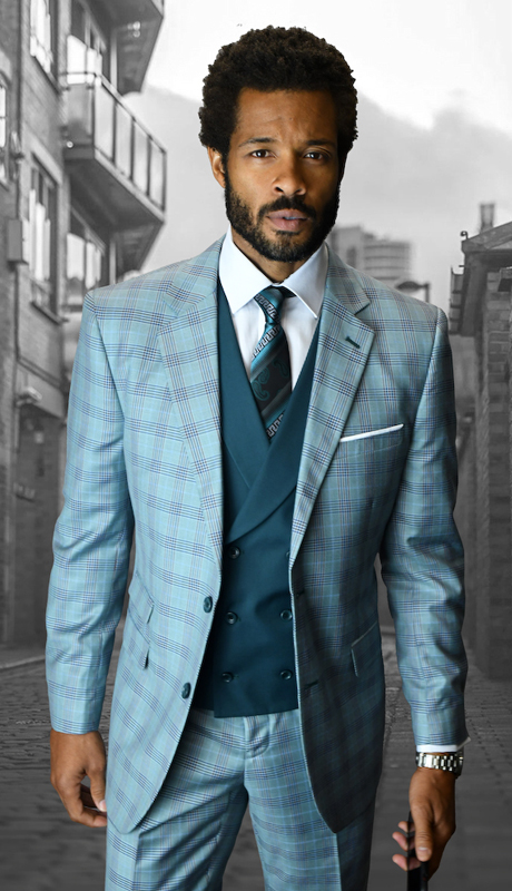LANZINI-OX ( 3pc Mens Statement Plaid Suit, Double Breasted Vest, FLat Front Pants, Super 150's )
