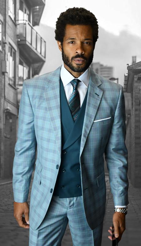 LANZINI-OX ( 3pc Mens Statement Plaid Suit, Double Breasted Vest, FLat Front Pants, Super 150's )
