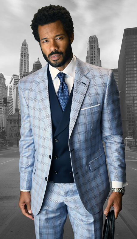 LANZINI- BL ( 3pc Mens Statement Plaid Suit, Double Breasted Vest, Flat Front Pants, Super 150's )