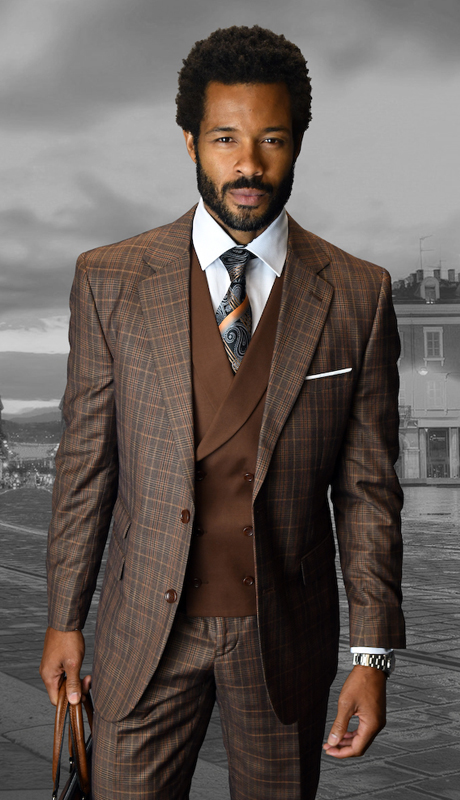 LANZINI-CO ( 3pc Mens Statement Plaid Suit, Double Breasted Vest,Flat Front Pants, Super 150's )