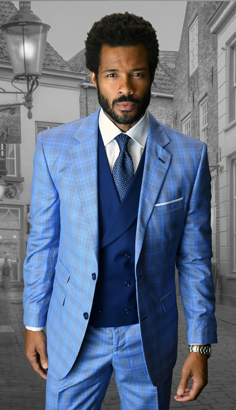 LANZINI-IN ( 3pc Mens Statement Plaid Suit, Double Breasted Vest, Flat Front Pants, Super 150's )