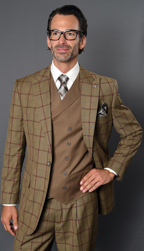 AMALFI-BR ( 3pc Mens Plaid Statement Suit, Pleated Pants, Super 150's )