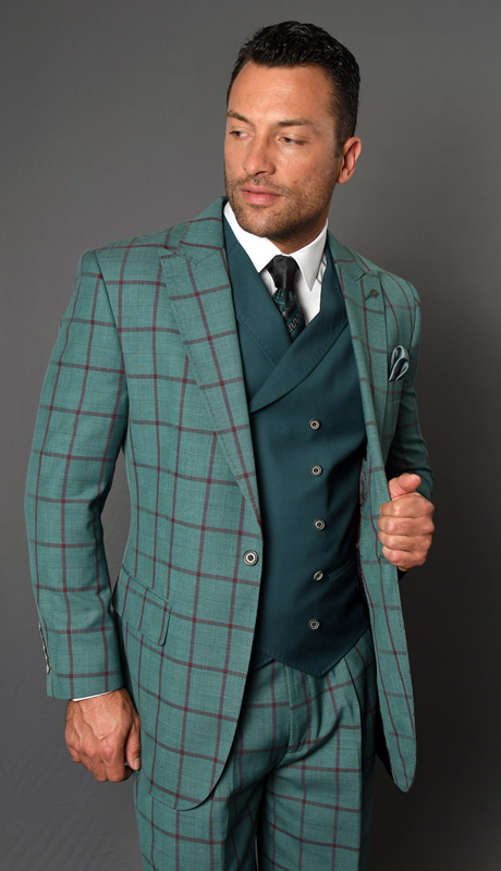 AMALFI-JA ( 3pc Mens Plaid Statement Suit, Pleated Pants, Super 150's )