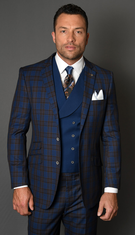 BOSA-SA ( 3pc Mens Statement Suit, Flat Front Pants, Super 150's )