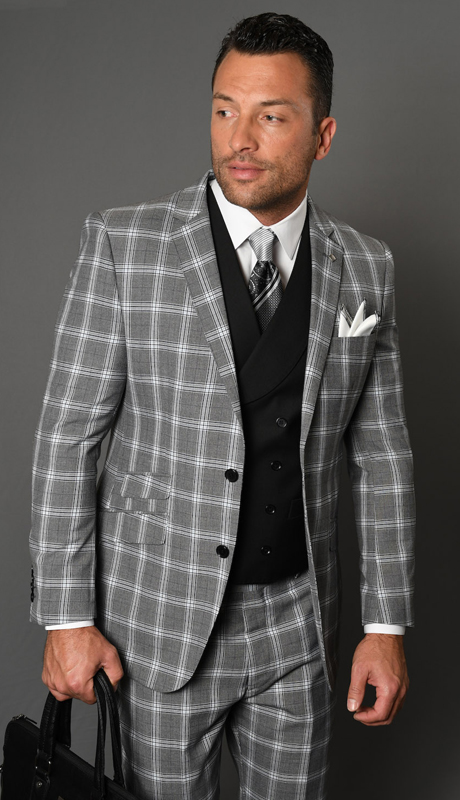 CARLO-BK ( 3pc Mens Statement Suit With Double Breasted Vest, Flat Front Pants, Super 150's )