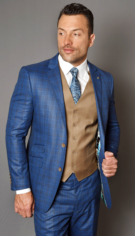 CREVO-SA ( 3pc Mens Statement Suit With Solid Color Vest And Flat Front Pants, Super 150's )