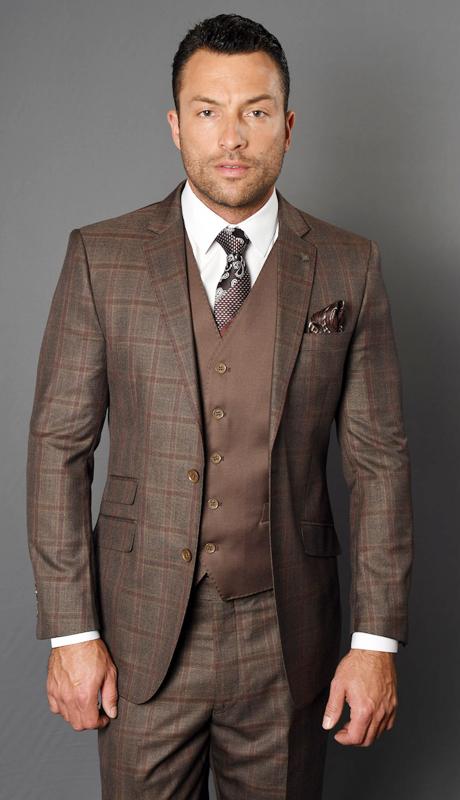 DOZZA-CO ( 3pc Mens Statement Suit With Solid Color Vest And Flat Front Pants, Super 150's )