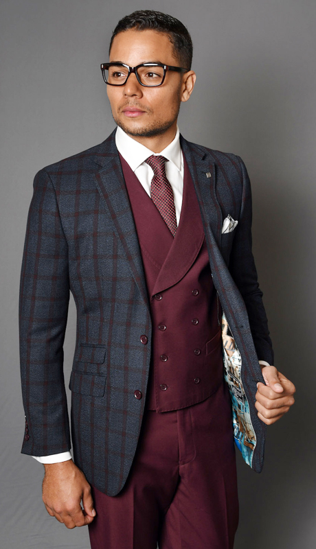 EMILIA-BU ( 3pc Mens Statement Suit With Solid Color Vest And Flat Front Pants, Super 150's )
